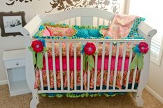 Custom Baby Bedding 3 pc Crib Set Turq Girly by BabyCarSeatCovers, $379.95