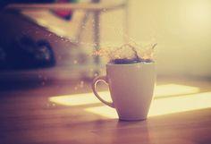 Макро, кофе, чашка, всплеск, брызги, пол, свет