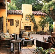 Back Terrace of 1922 Los Feliz home restored by Actor Tim Curry. Featured in Architectural Digest 1998