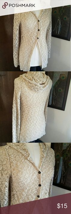Crocheted Button up Sweater Long sleeve, hooded, and button up crocheted sweater. Maurices Sweaters Cardigans