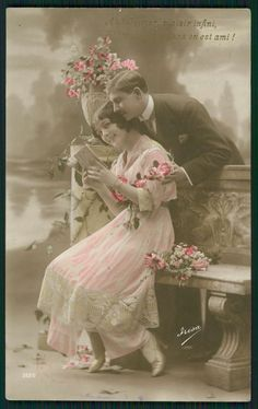Edwardian Lady Love Romance Couple Original Vintage Old 1910s Photo Postcard RQ | eBay