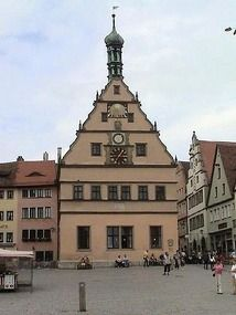Rothenburg, Germany. Clock Tower, this works just like a cuckoo clock. The windows open up and you see the figurines in the windows, just like the small ones you can buy.