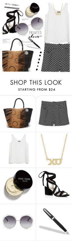 """Printed Shorts"" by annbaker ❤ liked on Polyvore featuring Sensi Studio, MANGO, Jennifer Meyer Jewelry, Bobbi Brown Cosmetics, Kenneth Cole, Chloé, Fountain and printedshorts"