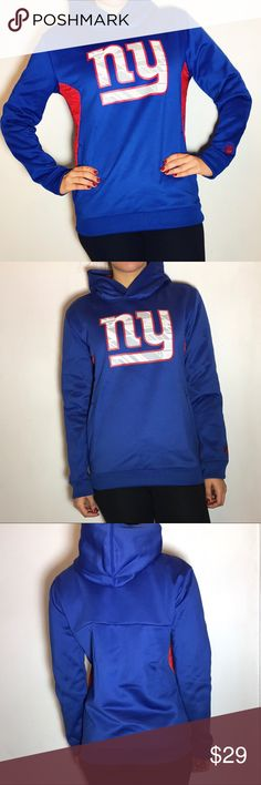 NY Giants Hoodie New York Giants Hoodie. -Size is Youth Large, fits like a XS. -Scuba type material, very warm and cozy. -Worn once!  NO Trades. Please make all offers through offer button. NFL Tops Sweatshirts & Hoodies