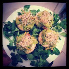 ⓥ Raw Vegan Stuffed Mushrooms  4 big Mushrooms 1 Avocado 1 Carrot 1 Yellow Sweet Pepper 5 Cherry Tomatoes 2 Green Onion mix seeds 1 Lemon Sea Salt  Alfalfa/Lucerne on top