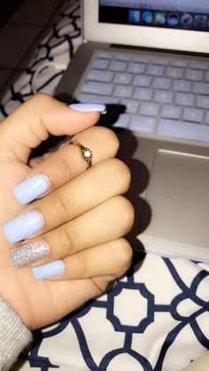 Most Popular Ways To Light Blue Acrylic Nails Coffin Long 99 - Ongles 02 Light Blue Nails, Silver Glitter Nails, Baby Blue Nails With Glitter, Blue Nails With Design, Light Blue Nail Designs, Glitter Acrylics, Glitter Hair, Short Square Acrylic Nails, Long Acrylic Nails