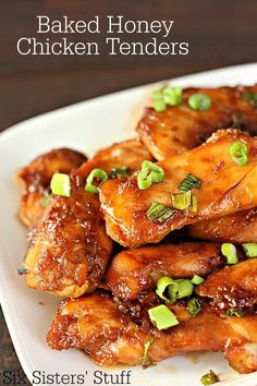 (Sub gf soy sauce) Baked Honey Chicken Tenders Recipe ~ This baked chicken is so incredibly tender and full of flavor- the honey adds sweetness while the soy sauce adds savory- I promise that it will quickly become one of your favorite meals! Chicken Tender Recipes, Meat Recipes, Dinner Recipes, Cooking Recipes, Healthy Recipes, Recipes For Chicken Tenders, Cooking Time, Chicken Tenderloin Recipes, Chicken