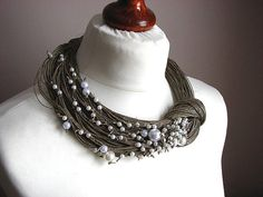 Pearls BIG linen necklace by GreyHeartOfStone on Etsy, $42.00