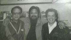 Con Víctor Trujillo y Ausencio Cruz (los de la Carpa Geodésica) en un descanso después de grabar una serie de comerciales para Oxxo.en 1990