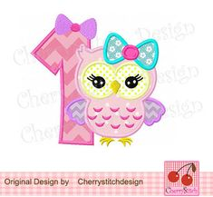 Birthday number 1-girly owl digital embroidery applique-4x4 5x7 6x10-Machine Embroidery Applique Design