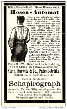 Original-Werbung/ Anzeige 1896 - HOSEN - AUTOMAT / HURWITZ - BERLIN - ca. 45 x 80 mm
