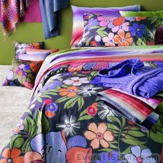 """Pauline"" a fun floral by MissoniHome. Looks great mixed with ""Parsifal"", a sophisticated stripe."