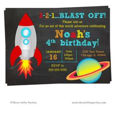 Outer Space Spaceship Birthday Invitation