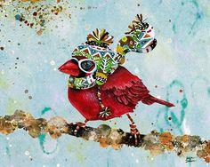 Cardinal with a Warm Scarf by Jennifer Lambein.