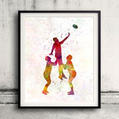 Rugby man player 06  Fine Art Print Glicee Poster by Paulrommer