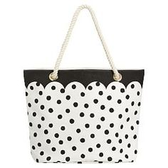 The Emily & Meritt Black/White Dot Rope Beach Tote: This breezy tote is the ultimate accessory for long days at the beach or pool. Boasting a touch of playful charm and a dash of glamour, it's designed exclusively for PBteen by celebrity stylists and fashion designers Emily Current and Meritt Elliott and captures their classic and rebellious aesthetic.