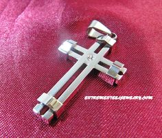 Ladies 316L Stainless Steel Banded Cross Pendant CZ Set