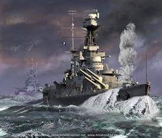 HMS Hood in rough seas. Hms Hood, Military Photos, Military Art, Hms Prince Of Wales, German Submarines, Ship Paintings, Naval History, Military Diorama, Navy Ships