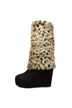 $37.99 Black Suede Leopard Printed Faux Fur Wedge Boots @ MayKool.com
