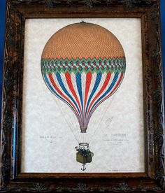 French Le Tricolore Balloon Art Print from 1874 on Parchment Paper