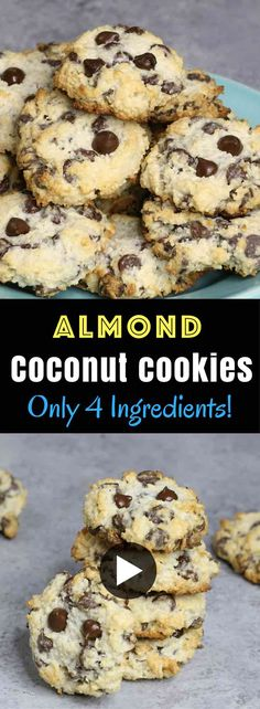 4 Ingredient Chocolate Chip Coconut Cookies – The BEST soft and chewy coconut chocolate chip cookies made with only 4 ingredients: coconut flakes, almond flour, chocolate chips, and sweetened condensed milk! So simple and so delicious! It's great for snack, parties, or dessert! Great for gifts too! Quick and easy recipe. Vegetarian. 20 minute desserts. Video recipe.   Tipbuzz.com