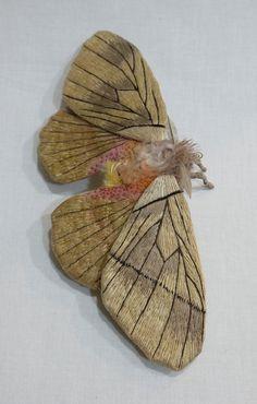 Fabric sculpture Large Saturniid Moth textile art by irohandbags