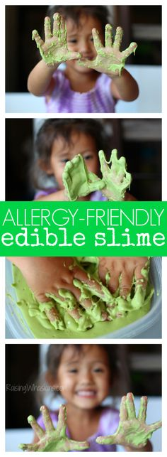 Allergy-friendly edible slime for toddlers. Spinach oobleck
