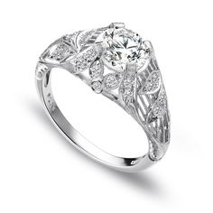 """Whitehouse Brothers style 8135                """"Magnolia Spray"""" - Hand Engraved Filigree Engagement Ring.  This could also be my wedding ring.  Would want this in platinum.  The magnolia leaves would be a symbolic nod to my MIssissippi heritage."""