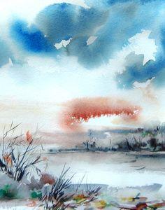 Abstract Landscape - Watercolor Painting Art Print - Watercolor Art - Blue - Nature #design #etsyretwt