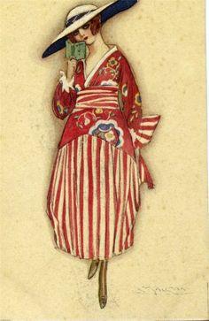 Art by Lucien-Achille Mauzan 1910 Vintage Beauty, Vintage Art, Vintage Ladies, Vintage Fashion, Vintage Style, Alphonse Mucha, Fashion Illustration Vintage, Illustration Art, Vintage Illustrations