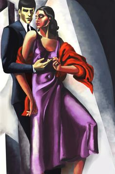 Art Deco Spock and Uhura  in the style of of Tamara de Lempicka. by ~lymanalpha at deviantart