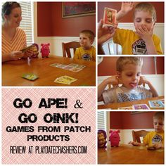 Go Oink! and Go Ape! to make you think and giggle -- 2 games with a twist on the classic game Go Fish!