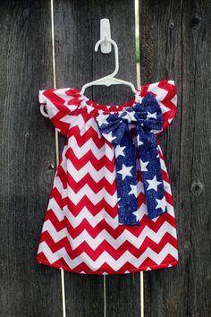 Cuarto de julio Chevron rojo patriótico campesino azul blanco rojo vestido - Baby Girl love It