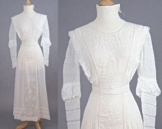 Antique Early 1900s Edwardian White Embroidered Cotton Tea Dress with Net and Crochet Lace