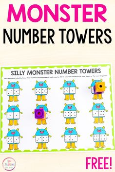 Free printable silly monster theme number tower mats for practice with counting, addition, number sense and more! Perfect for Halloween math centers in pre-k, kindergarten and first grade.