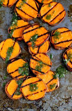 Grilled Sweet Potatoes with Cilantro Vinaigrette