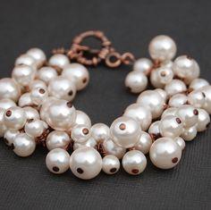 Pearl Bridal Jewlery, Blush Pearl Cluster Bracelet, Bridesmaid Bracelet, Bridal Party, Custom Colors, Soft Pink Pearl Bracelet