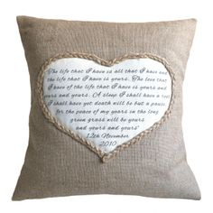 Personalised Heart Pillow Cover