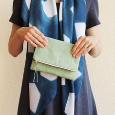 Naturally Dyed Organic Cotton Clutch  Green by RebeccaDesnos, £35.00