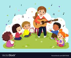 Woman playing guitar with a group kids singing vector image on VectorStock Music Crafts, Crafts To Do, Crafts For Kids, Toddler Crafts, Kids Singing, Kids Playing, Kindergarten Activities, Preschool Crafts, Basic Drawing For Kids