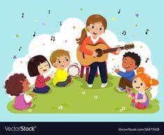 Woman playing guitar with a group kids singing vector image on VectorStock Music Crafts, Crafts To Do, Crafts For Kids, Toddler Crafts, Kids Singing, Kids Playing, Kindergarten Activities, Preschool Crafts, Noel