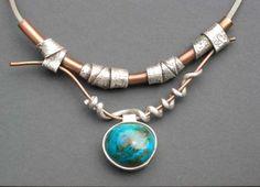 "Art In Silver      Chrysocolla by Hadar Jacobson  -  Fine silver (PMC), copper, chrysocolla, sterling silver chain, 18"" long. (432×312)      http://store.artinsilver.com/chrysocolla.html"