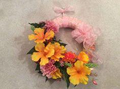 "Summer wreath, tropical floral wreath,  floral 16"" wreath,  wreath with tropical flowers, lilies and carnations wreath, bright floral design"