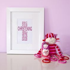 Personalised framed typographic prints and wall art. Beautiful, unique Christening gifts! http://thebeaskneesandthecatswhiskers.co.uk