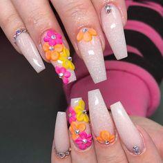 ❤So fab for summer vacay! Cool 3d flower nail art ideas for acrylic nails #nailart