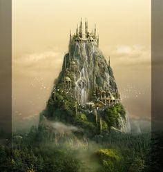Gondolin. This is just breathtaking. Out of this world! Fantasy castle,palace, kingdom, place, on a mountain with waterfalls.