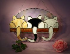 Stained Glass Suncatcher 3 Kittens Looking Out of the Window  (615) by StainedGlassbyWalter on Etsy