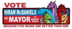 Because five heads are better than one. Hiram Mcdaniels, The Bright Sessions, Glow Cloud, The Moon Is Beautiful, Night Vale, I Voted, Dog Park, Bumper Stickers, Good Night