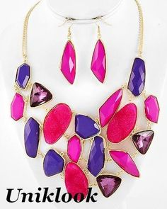 Gold Purple Pink Acrylic Agathe Bib Statement Jewelry Necklace Earrings