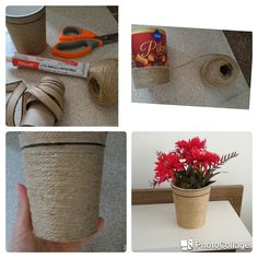 Plastik kutudan saksı yapımı